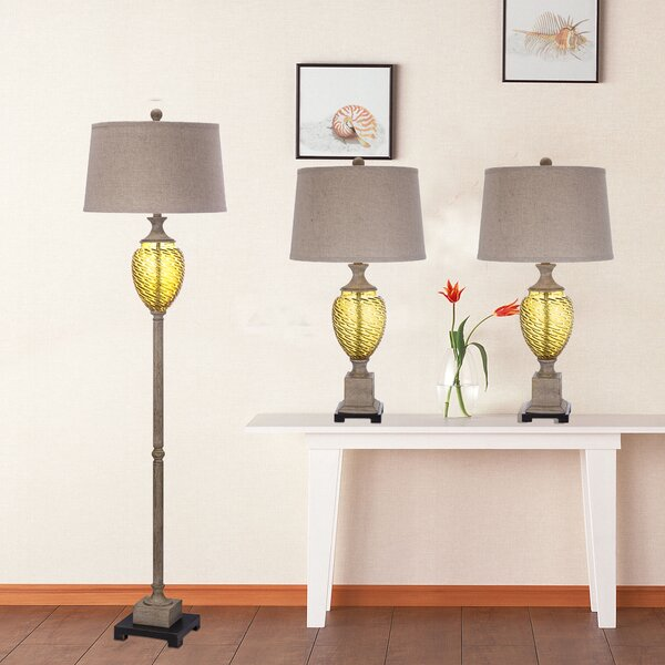 Layfield 3 Piece Table and Floor Lamp Set by Bay Isle Home