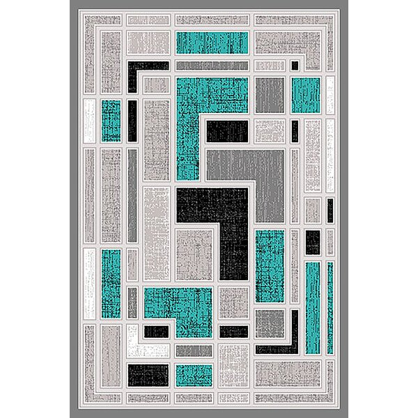 Cotter Turquoise/Gray Area Rug by Ebern Designs