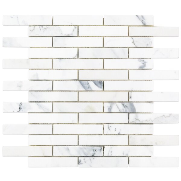 1 x 4 Marble Mosaic Tile in White/Gray by Splashback Tile