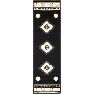 Buy luxury Thornton 2'2 x 7'6 Black/Beige Area Rug ByMillwood Pines