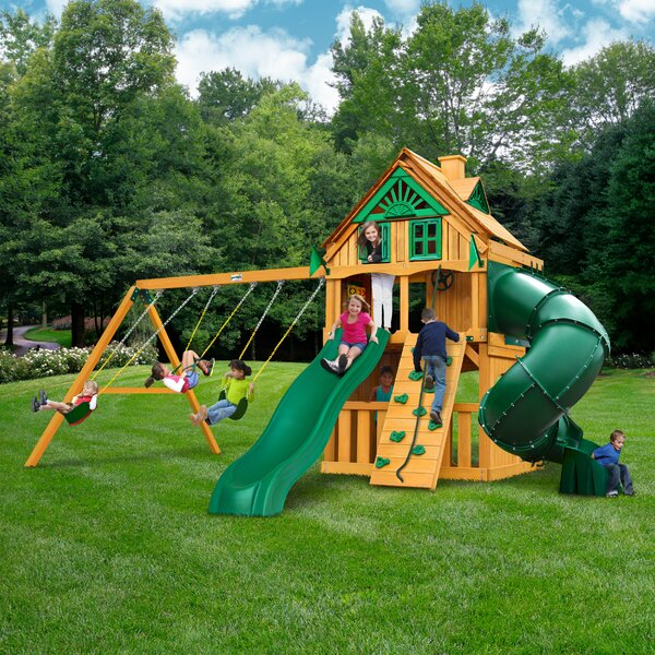 Mountaineer Clubhouse Treehouse Swing Set by Gorilla Playsets