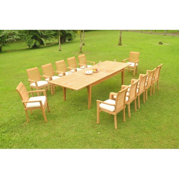 Onecre 13 Piece Teak Dining Set by Rosecliff Heights