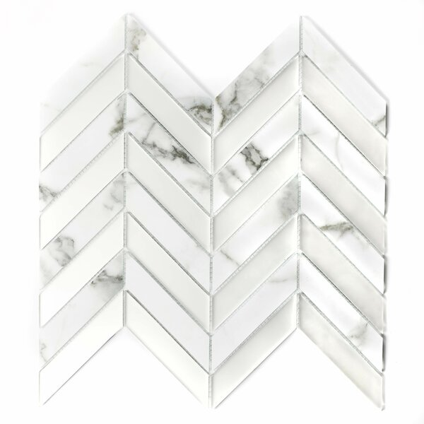 Musico Bianco Herringbone 1.4 x 3.25 Glass Mosaic Tile in White/Gray by Abolos