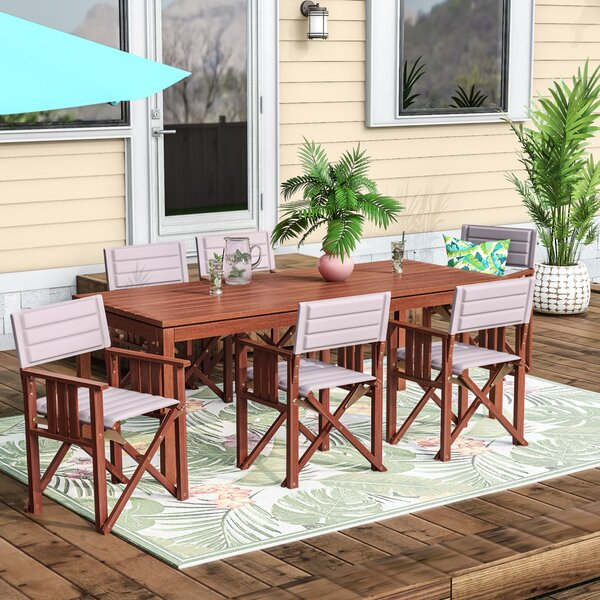 Sanor Patio 7 Piece Dining Set by Beachcrest Home