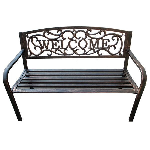 Welcome Metal Garden Bench by DDI