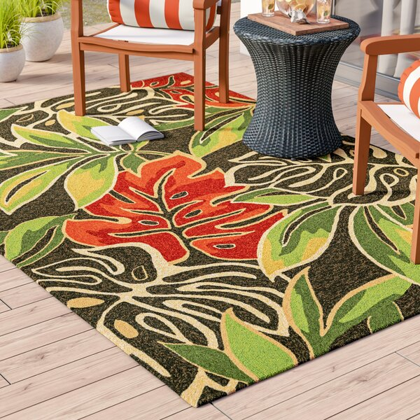 Mariann Areca Palms Hand-Woven Dark Brown/Green Indoor/Outdoor Area Rug by Beachcrest Home