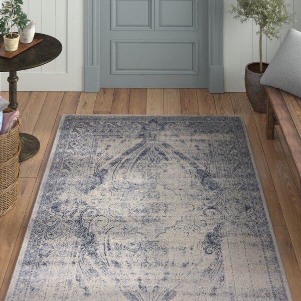 Abbeville Oriental Gray/Dark Blue Area Rug by Laurel Foundry Modern Farmhouse