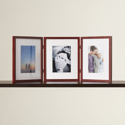 Red Barrel Studio Baber Hinged Triple Picture Frame With Bevel Cut Mats Red Barrel Studio Color Walnut Dailymail