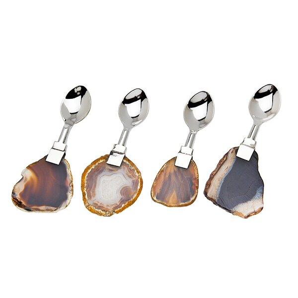 Periwinkle 4 Piece Dessert Spoon Set by Mint Pantry