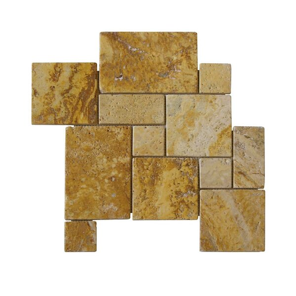 Tumbled Natural Stone Mosaic Tile in Gold by QDI Surfaces