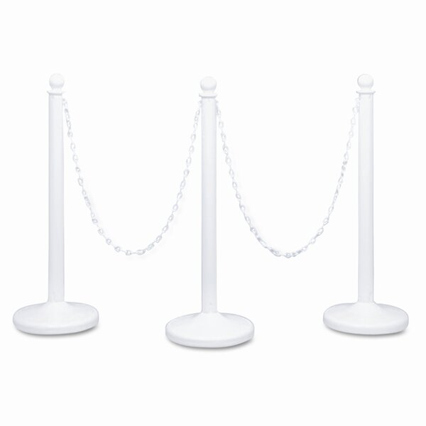 Crowd Control Stanchions, Plastic, 14 x 39, White, Six per Box by Tatco