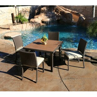 Tampa 5 Piece Dining Set with Cushions By World Wide Wicker