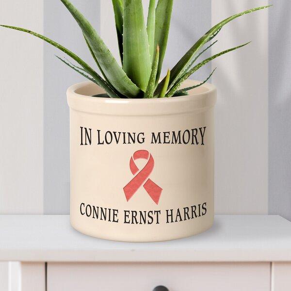 Middle Village Personalized Pink Ribbon Ceramic Pot Planter by Winston Porter