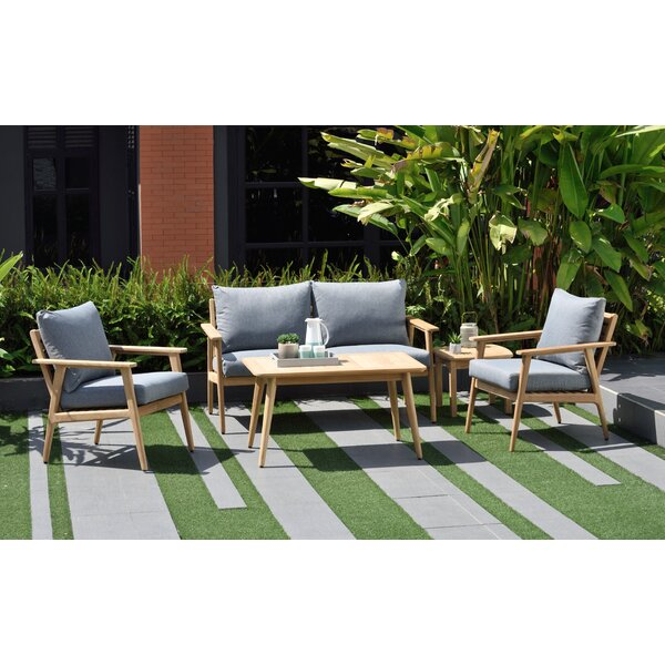 Darrah 5 Piece Teak Sofa Seating Group with Cushions by Brayden Studio