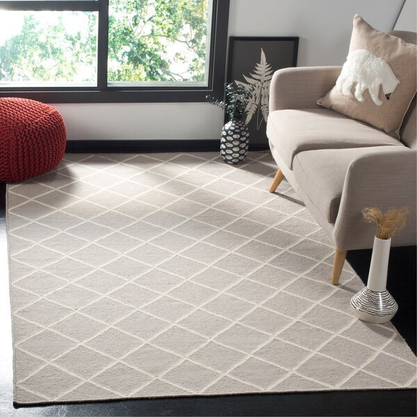Danbury Hand-Woven Wool Gray/Ivory Area Rug by Three Posts