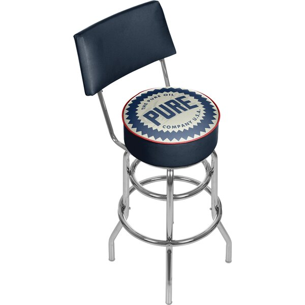 Pure Oil Wordmark Swivel Bar Stool with Back by Trademark Global