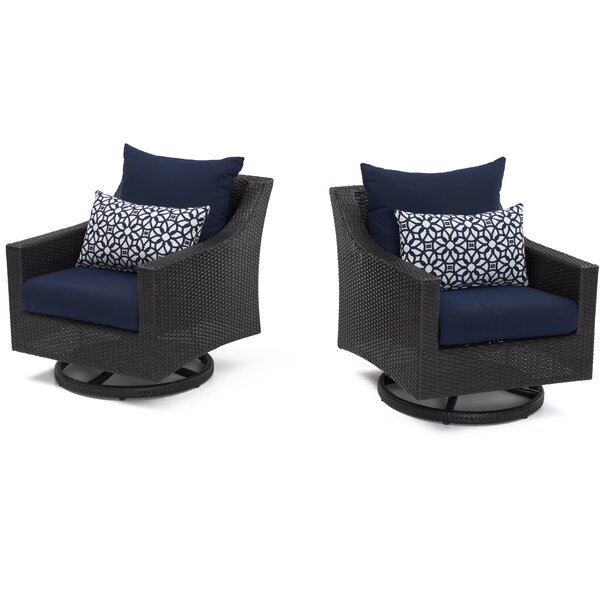 Northridge Swivel Patio Chair with Cushions (Set of 2) by Three Posts