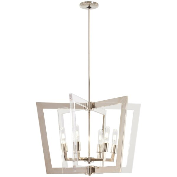 Sweetwood 6 - Light Lantern Rectangle Chandelier With Crystal Accents By Orren Ellis
