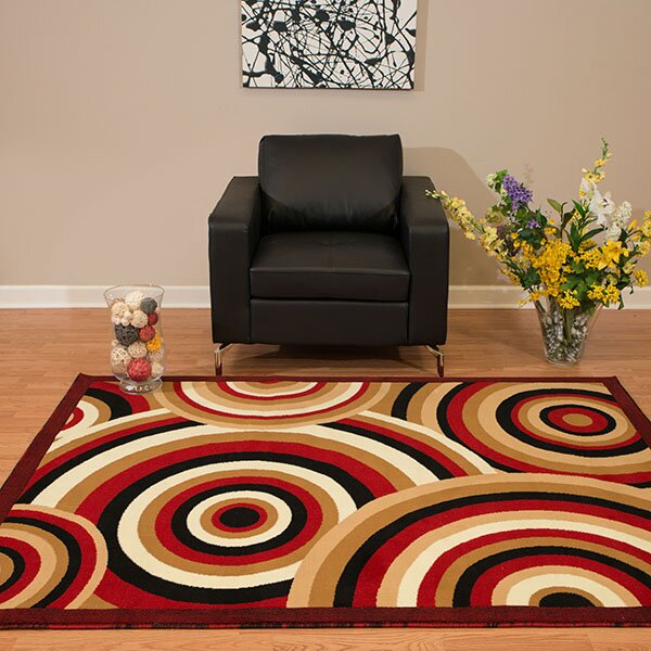Eloise Red/Beige Area Rug by Ebern Designs