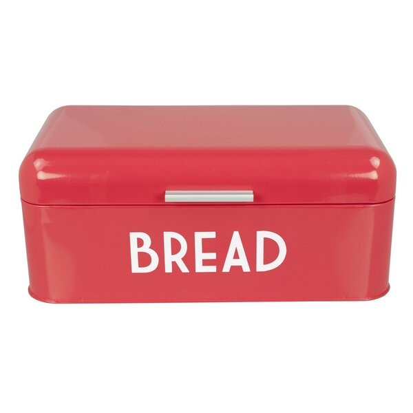 Akkaya Retro Design Powder Coated Steel Bread Box with Lid by Mint Pantry