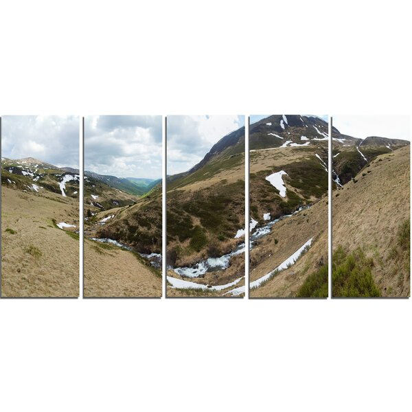 Wild Sprint Mountain Panorama 5 Piece Photographic Print on Wrapped Canvas Set by Design Art