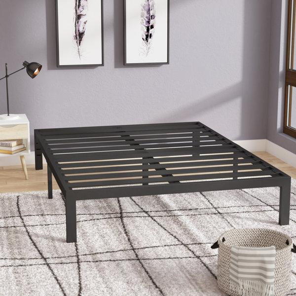 Branson Black Metal Platform Bed Frame by Latitude