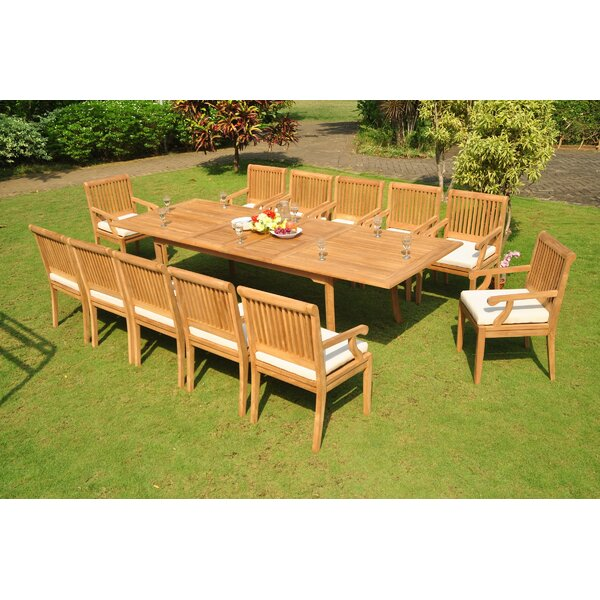 Mcallier 13 Piece Teak Dining Set by Rosecliff Heights