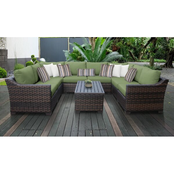 River Brook 9 Piece Outdoor Wicker Patio Furniture Set 09c by kathy ireland Homes & Gardens by TK Classics
