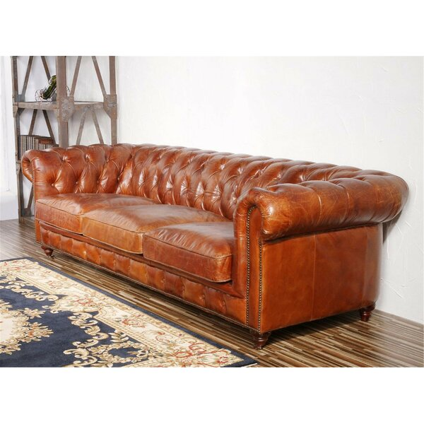 Genuine Leather Chester Bay Tufted Sofa by Pasargad