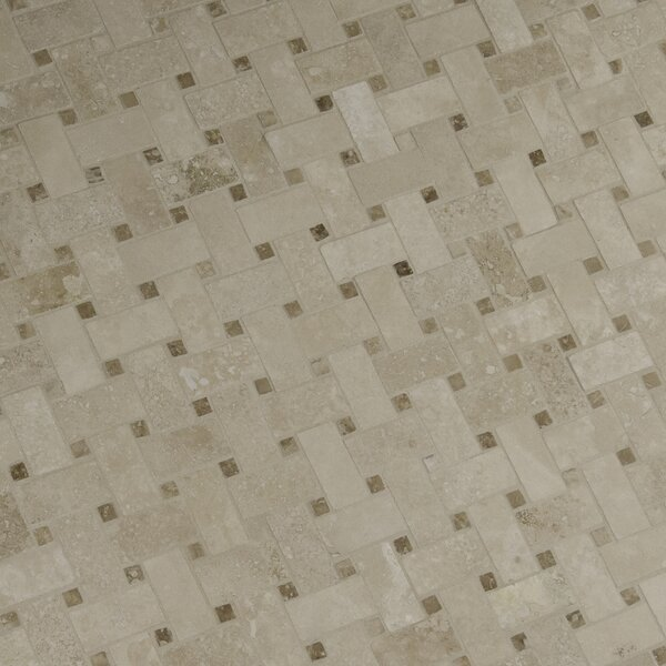 Basketweave Hon Travertine Mosaic Tile in Cream by MSI