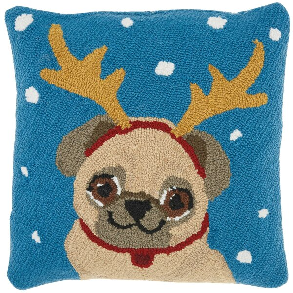 Leboeuf Festive Pug Wool Throw Pillow by The Holiday Aisle
