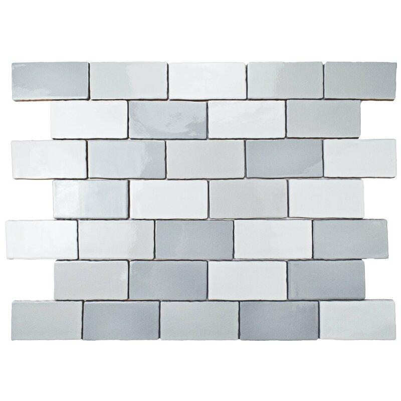 Elitetile Antiqua 3 X 6 Ceramic Subway Tile In Craquele Soho Gray
