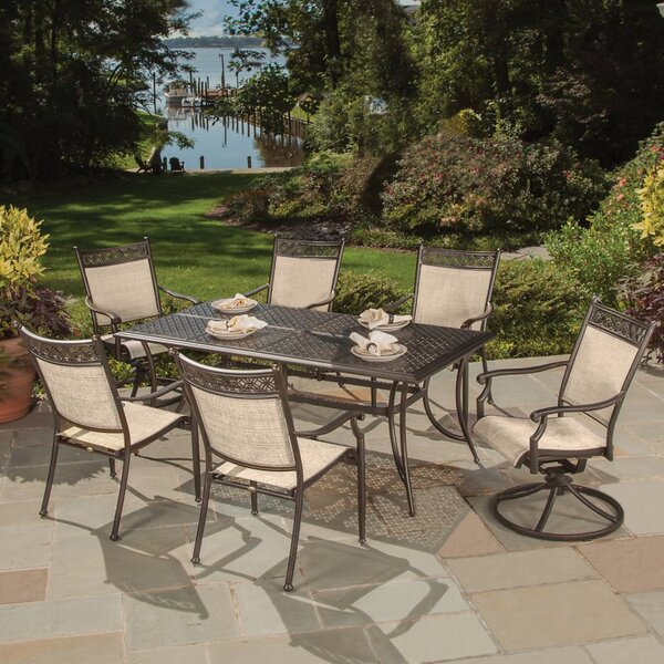 Doucette Cast Aluminum and Sling 7 Piece Dining Set by Red Barrel Studio