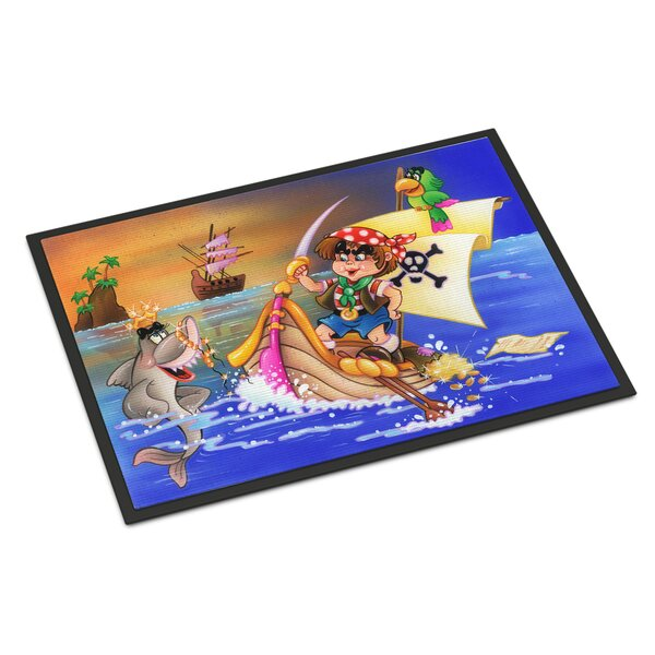 Boy Playing Pirate with Dolphin Outdoor Door Mat