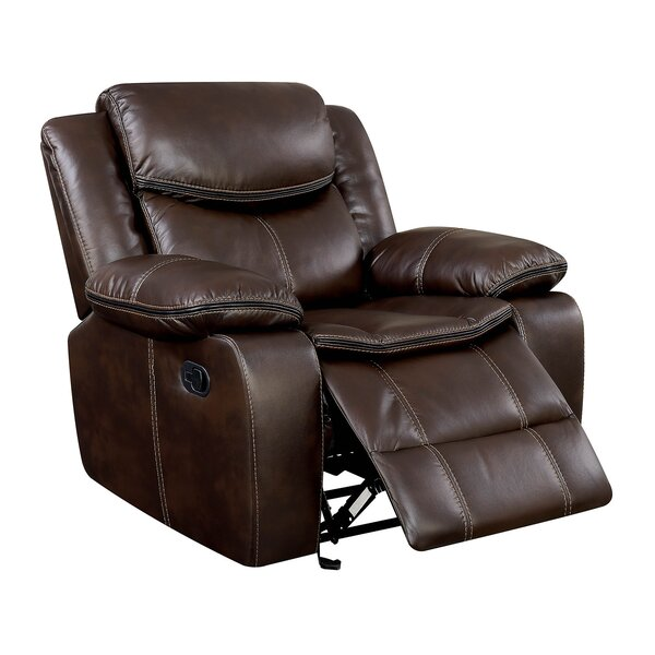 Hargis Padded Arm Leather Glider Recliner