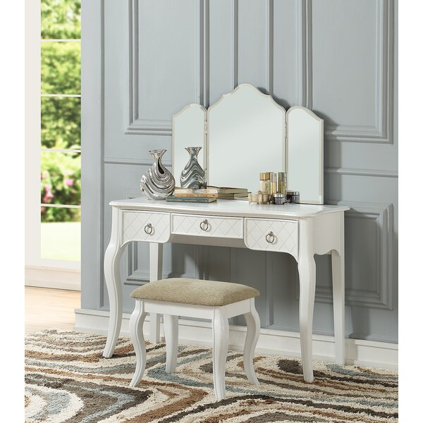 Caden Tri Fold Vanity Set with Mirror by Astoria Grand Astoria Grand