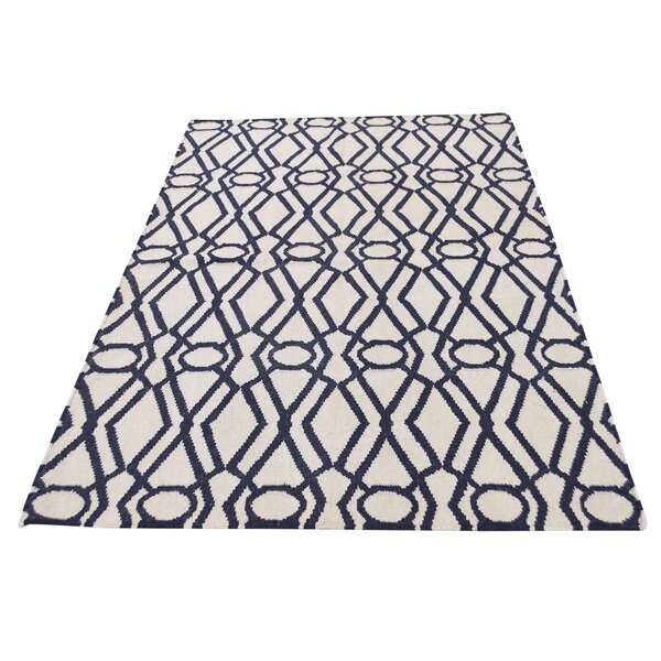 One-of-a-Kind Reversible Durie Kilim Hand-Knotted Ivory/Navy Area Rug by House of Hampton