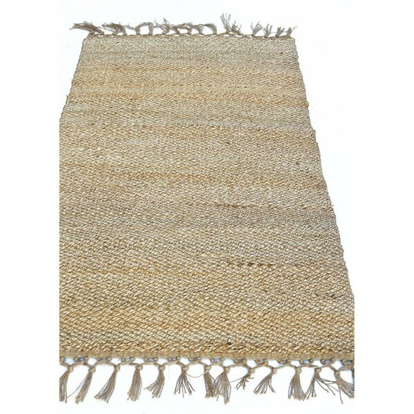 Rooney Knotted Fringe Ends Natural Brown Area Rug by Bay Isle Home