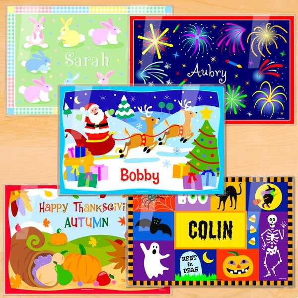 Holiday 5 Piece Personalized Placemat Set by Olive Kids