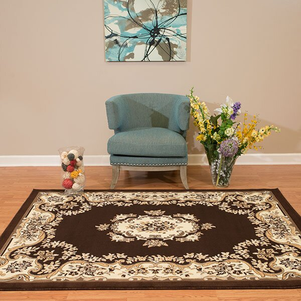 Wenlock Aubusson Dark Brown/Beige Area Rug by Astoria Grand