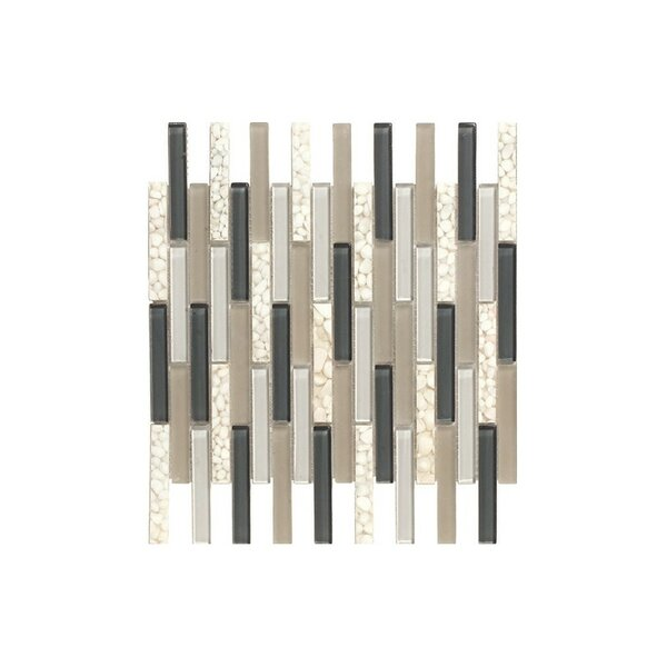 Santa 12 x 12 Glass Mosaic Tile in Cream/Black by Kellani