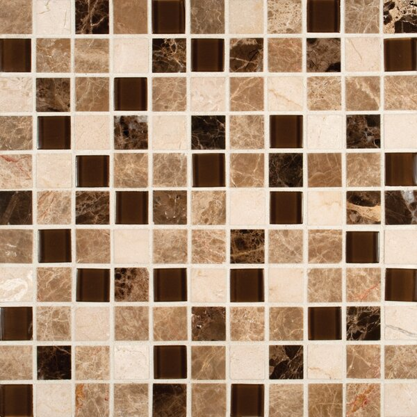 Emperador 1 x 1  Glass and Natural Stone Mosaic Tile in Brown by MSI