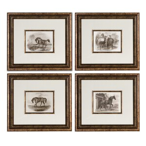 'Horses' 4 Piece Framed Painting Print Set by Three Posts