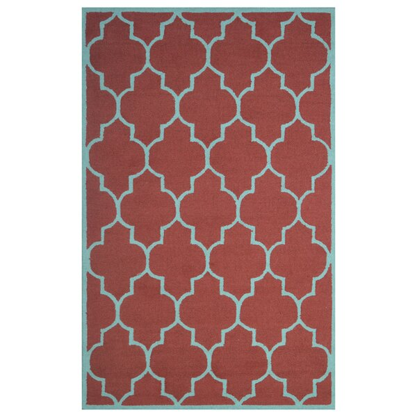 Wool Hand-Tufted Red/Light Blue Area Rug by Eastern Weavers