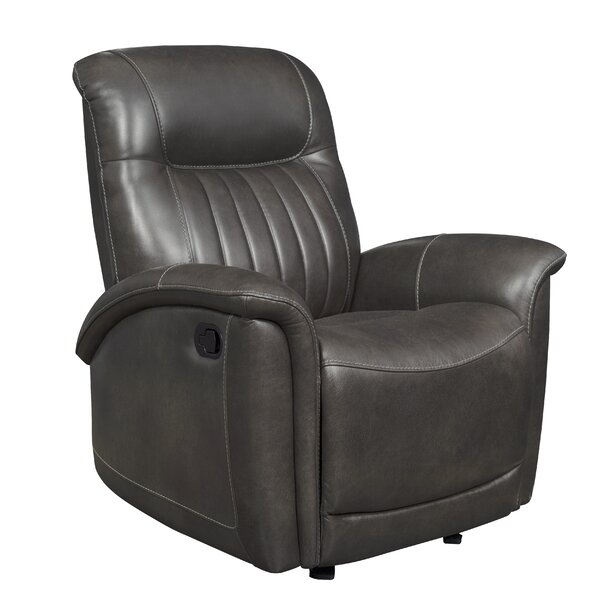 Trachoni Curved Arm Leather Recliner By Latitude Run