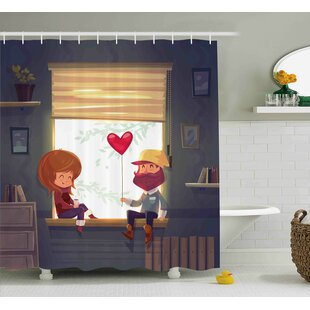 Valentines Day Lovely Romantic Couple At Home Smile And Baloon Art Print Shower Curtain