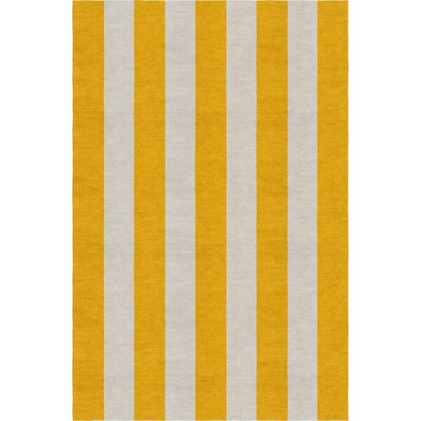 Burnell Hand-Woven Wool Dark Gold/Silver Area Rug by Longshore Tides