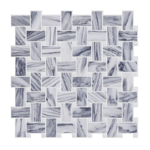Weaving 1 x 2 Marble Mosaic Tile in Gray/White by Byzantin Mosaic