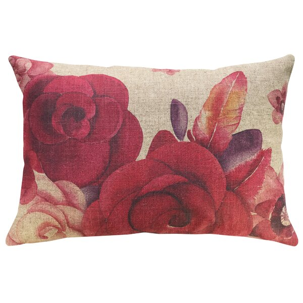 Krupp Roses Linen Throw Pillow by Ophelia & Co.