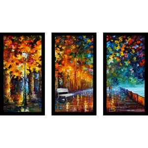 Way to Home 2 by Leonid Afremov 3 Piece Framed Painting Print Set by Picture Perfect International